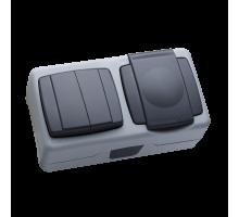 Выключательнакладной двухклавишный+розеткасзаземлениемкришкоюсерыйІР-55Makel