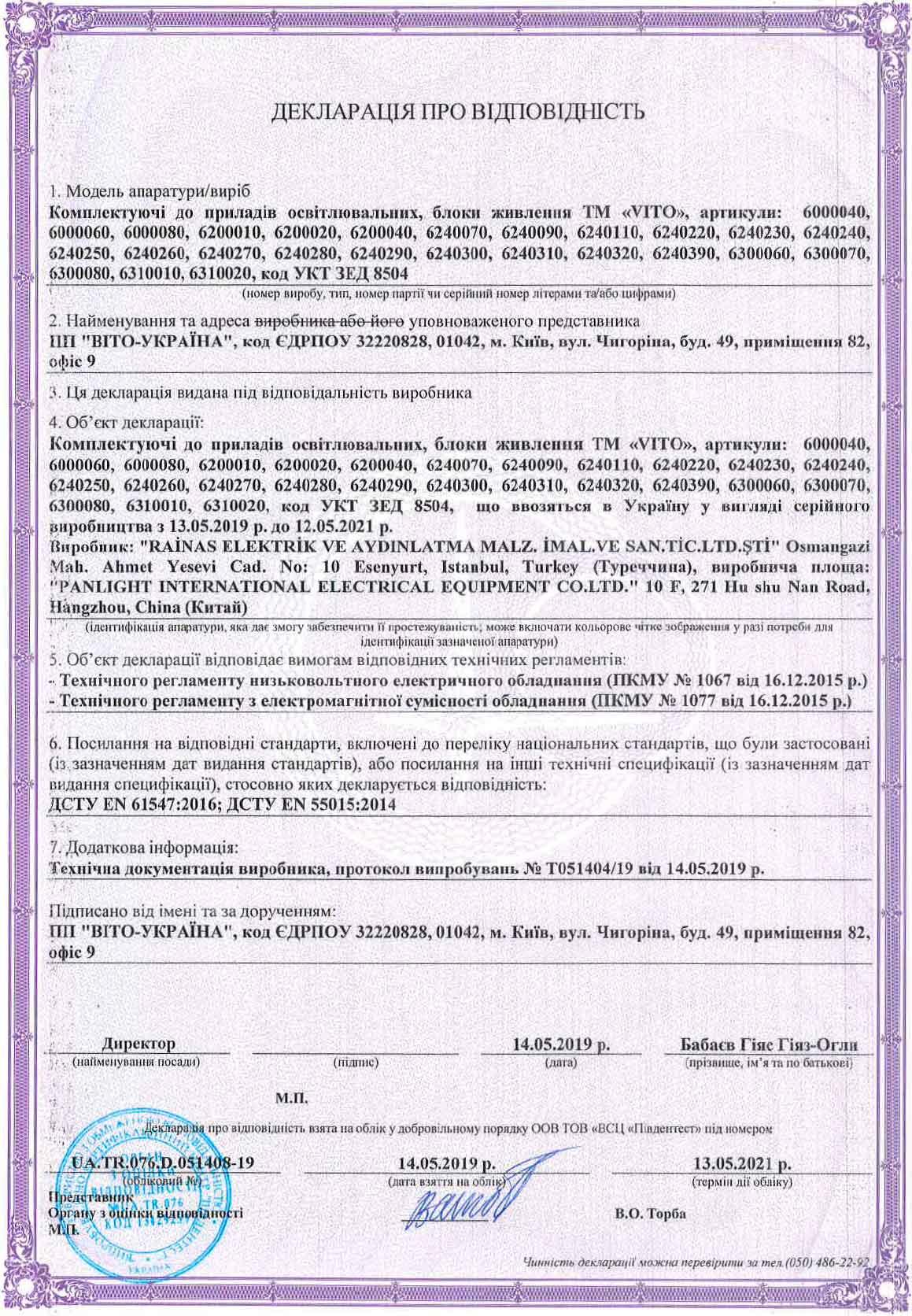 Декларации на продукцию магазина